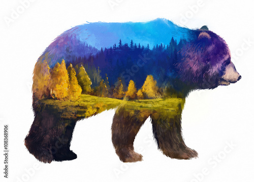 Fotografie, Obraz  bear double exposure illustration