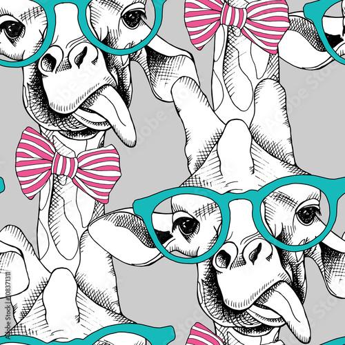 bezszwowy-wzor-z-zyrafami-w-szklach-z-lekiem-i-ilustracji-wektorowych