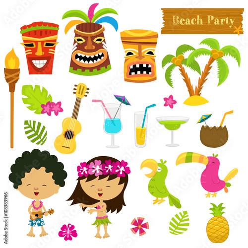 Śliczne hawajskie elementy