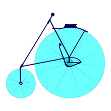 Hand Drawn And Isolated High Wheel Bicycle (or Penny Farthing, High Wheeler, Ordinary) On White Background - Eps10 Vector Graphics And Illustration