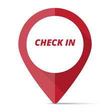Red Check-In Map Pin Pointer Concept