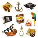 Sea pirates, vector icon set