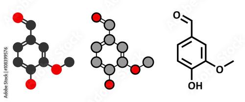 Vanillin vanilla extract molecule. Canvas Print