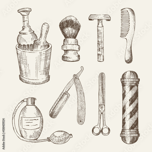 Retro illustrations of barber shop elements. Fotobehang