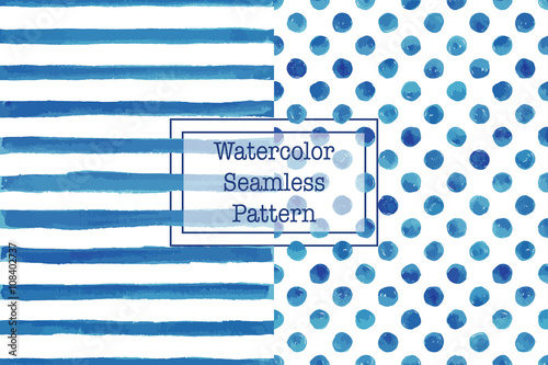 Set of two watercolor seamless patterns, blue color. Stripes and polka dot pattern. Watercolor seamless pattern for any your design project eco, natural, organic them. Or for print on any item.
