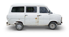 Isolated Old White Van - Clipping Path Included