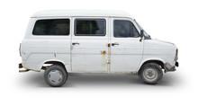 Isolated Old White Van - Clipp...