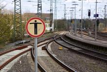 Gleisbett An Einem Bahnhof