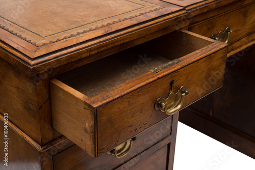 an ajar drawer of an antique wooden office table buy this stock