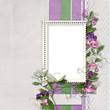 Background with photo frame and sweet peas