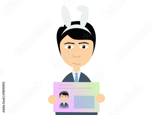 Flat vector illustration of a man in business suit holding