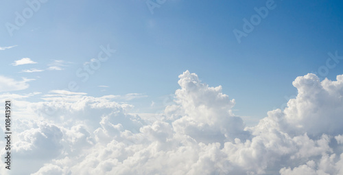 Cloud and blue sky view from airplane - 108413921