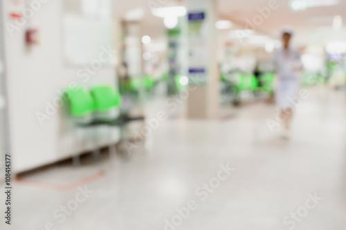 Plakat wnętrze szpitala rozmycie tła