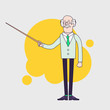 Old professor is showing something by pointer. Senior scientist or teacher character. Linear flat design.