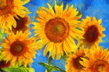 Sunflowers.Van Gogh Style Imit...