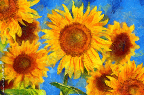 Sunflowers.Van Gogh style imitation. Digital painting.