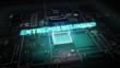Hologram typo 'Entrepreneurship' on CPU chip circuit, grow artificial intelligence technology.