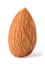 One Almond Nut Isolated On White Background Close-up Macro