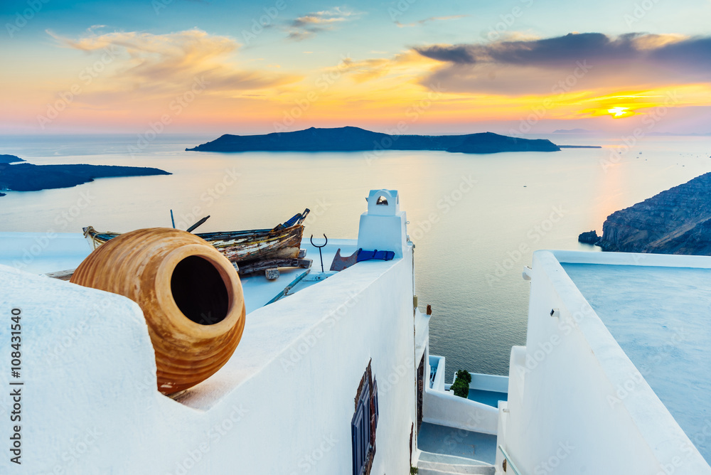 Fototapety, obrazy: Sunset on Santorini and view of volcanic caldera, Santorini, Cyclades, Greece