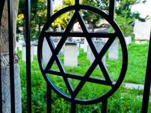Iron Gate With David Star At Jewish Cemetery