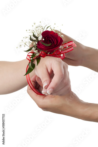 wrist with rose corsage Poster Mural XXL