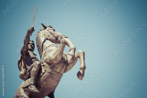 Fotografie, Tablou  Warrior on a Horse statue Alexander the Great on Skopje Square