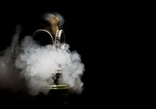 Gas Mask With Smoky Background Isolated On Black