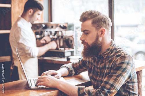 Fotografie, Obraz  Working in cafe.