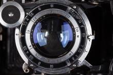 Lens Of Retro Camera Looking At You Macro Closeup