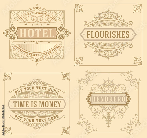 Fototapeta Vintage logo templates with Flourishes Elegant Design Elements obraz na płótnie