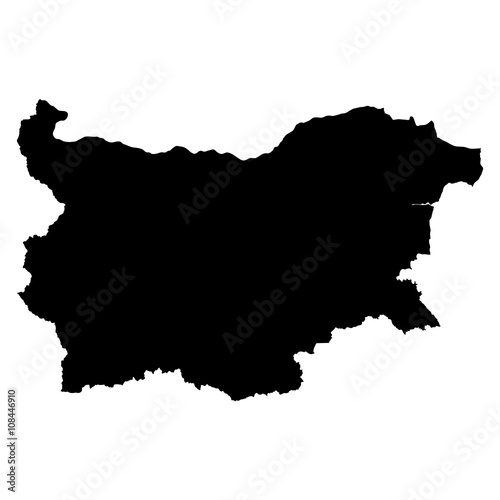 Bulgaria black map on white background vector Wall mural