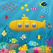 Submarine Background / Cartoon yellow submarine underwater.