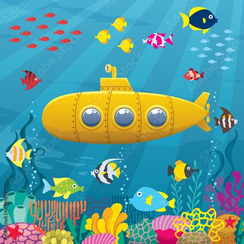 podwodne-tlo-podwodna-kreskowka-zolta-lodz-podwodna