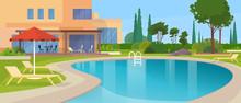 Swimming Pool Big Modern Villa Hotel House Exterior
