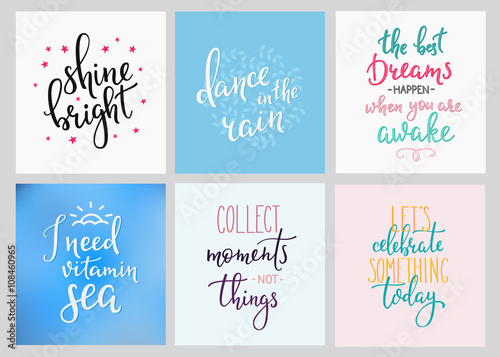 Foto op Aluminium Positive Typography Lettering postcard quotes set