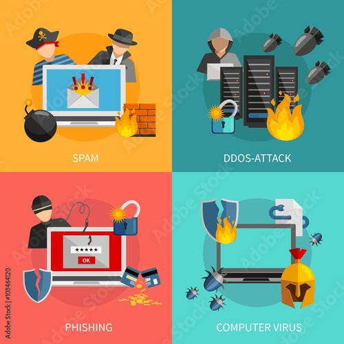 Fotografía  Hacker Attacks 2x2 Design Concept