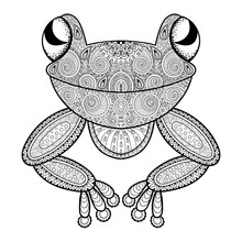 Vector Zentangle Frog For Adult Anti Stress Coloring Page. Hand