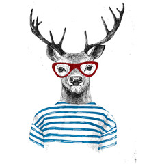 Fototapeta Style Hand drawn dressed up deer