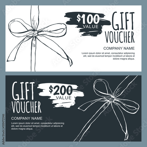 Vector Gift Voucher Template With Hand Drawn Outline Bow Ribbons