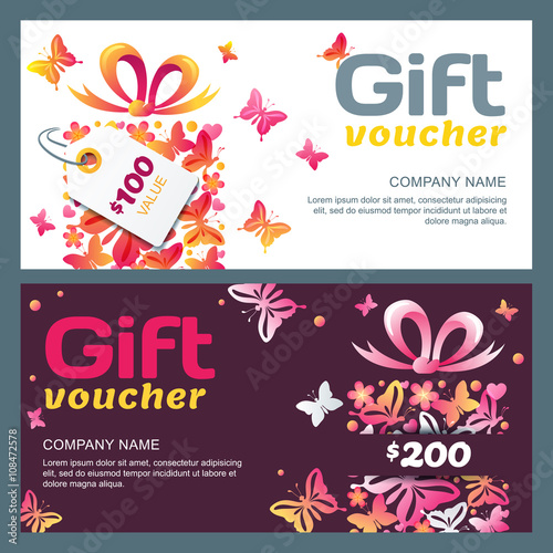 Vector gift voucher template with gift box and butterflies