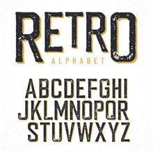 Retro Typeface. Stamped Alphabet, Shadowed. Isolated On White