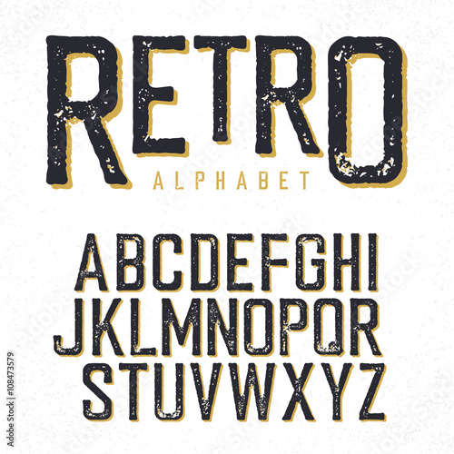 Fotografía  Retro typeface. Stamped alphabet, shadowed. Isolated on white