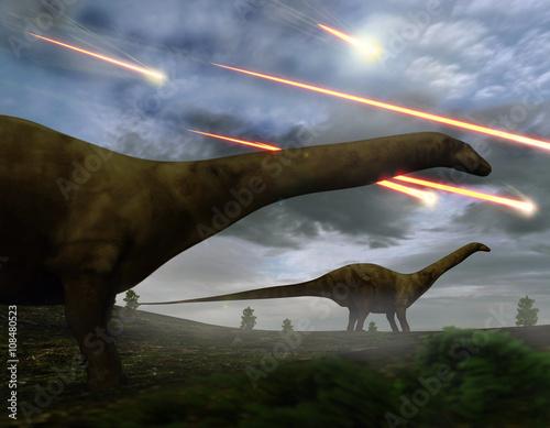 Fotografie, Obraz  Extinction Of The Dinosaurs Meteor Shower