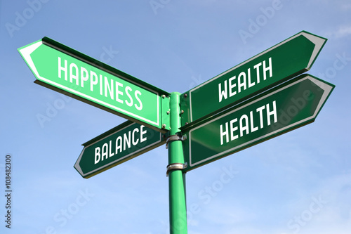 Wealth, health, happiness, balance signpost Fototapet