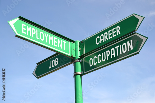 Valokuva  Employment, career, job, occupation signpost