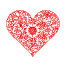 Vector Illustration Of A Red Heart Mandala,cuore Mandala Vettoriale