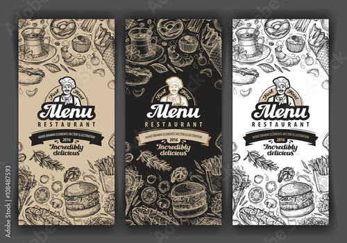 Tablou Canvas vector vintage sketch food illustration