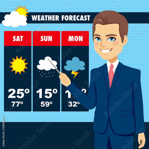 Fotografía  Attractive young tv news weather reporter man showing weather forecast chart