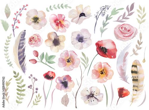 Naklejki na meble Kolekcja kwiatów malowana akwarelą w stylu boho