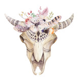 Watercolor bohemian cow skull.  Western mammals. Watercolour hip - 108491503